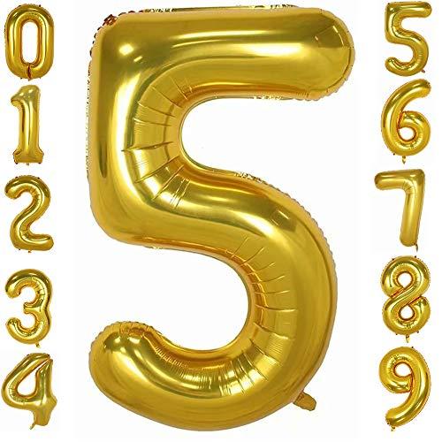 Tellpet Gold Number 5 Balloon, 40 in]()