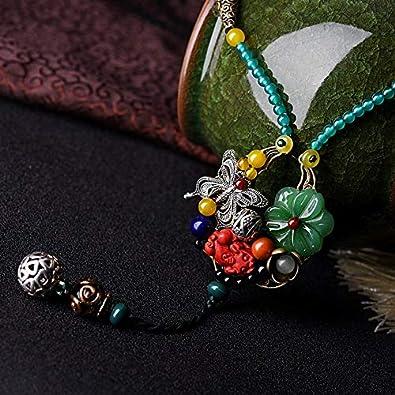 FUKAI Simple Tailandia Joyería Naturaleza Piedras Vintage Lapis Collar De Cristal Collar Étnico Esmaltado Hecho A Mano Flores De CobreNecklac
