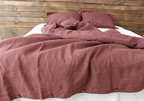 Chocolate brown 100% linen duvet cover, queen, king or double size, with 2 pillow shams