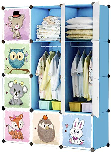 "KOUSI Kids Dresser Kids Closet Portable Closet Wardrobe Children Bedroom Armoire Clothes Hanging Storage Rack Cube Organizer,Cute Cartoon,Safety & Large & Sturdy (Blue, 42""(W) x 14""(D) x 56""(H))"