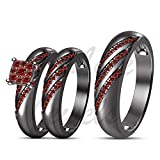 ArtLine Jewels Round Cut Red Garnet Trio Ring Set His & Her Trio Wedding Band 14k Black Gold Engagement