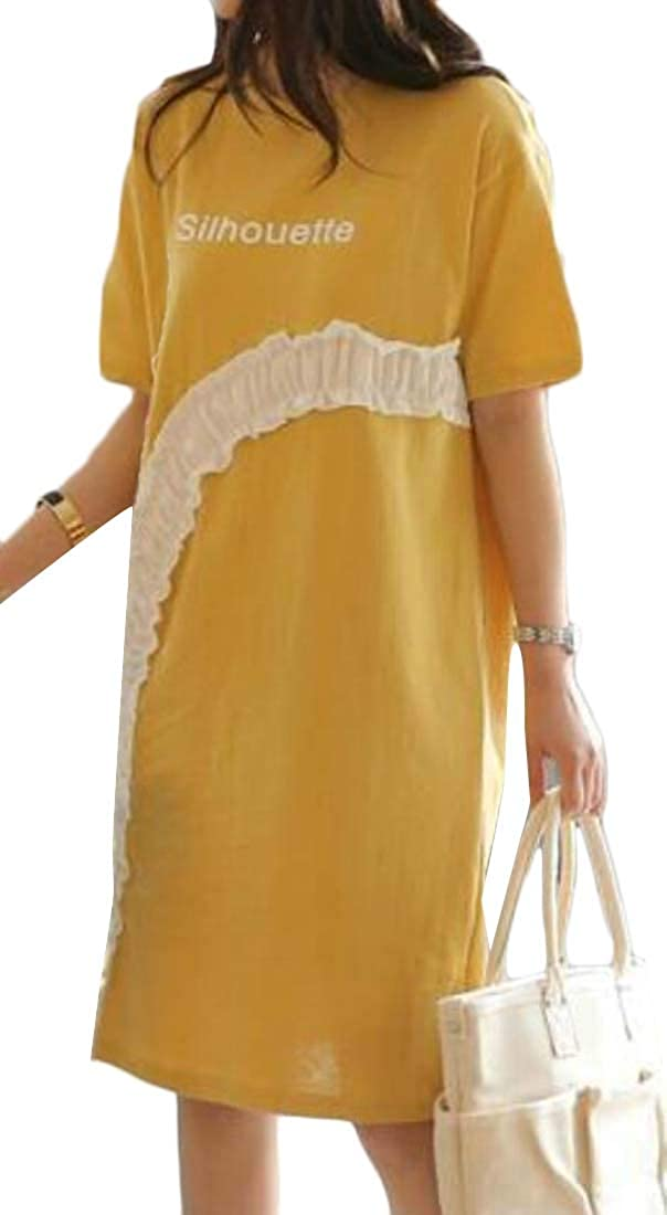 Spirio Womens Loose Fit Short Sleeve Casual Ruffle Plus Size T-Shirt Mini Dress