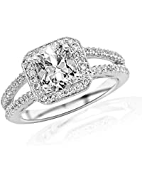 1.2 Carat Designer Split Shank Halo Style With Milgrain Diamond Engagement Ring (H Color, VS2-SI1 Clarity) - Cushion Cut/Shape