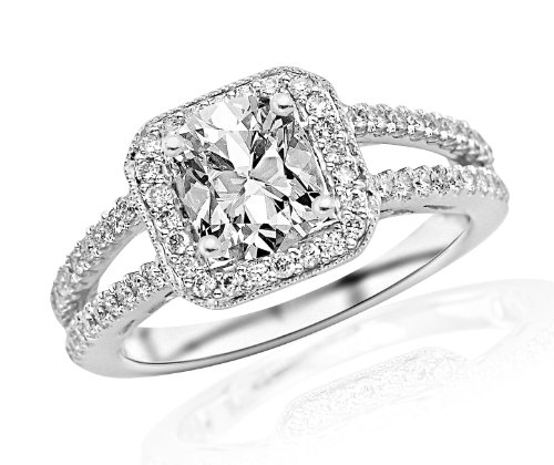 1.2 Carat Designer Split Shank Halo Style With Milgrain Diamond Engagement Ring (H Color, VS2-SI1 Clarity) - Cushion Cut/Shape by Houston Diamond District