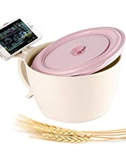 Shopwithgreen 47 OZ Microwavable Ramen/Noodle Bowl with Lid, Unbreakable Wheat Straw Soup Bowls with Handle, Extra Large Mug for Adults & Children, Microwave & Dishwasher Safe(Pink)
