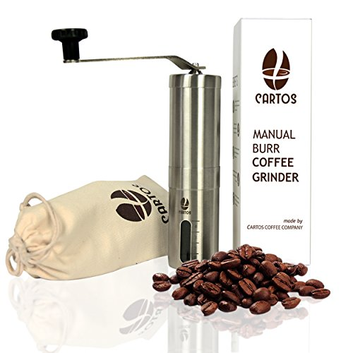 Best Review Of Cartos Manual Coffee Grinder - Portable Hand Grinder - Conical Burr Mill with PA 6 an...