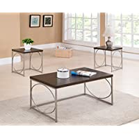 Kings Brand Furniture 3 Piece Wood Coffee Table & 2 End Tables Occasional Set, Walnut