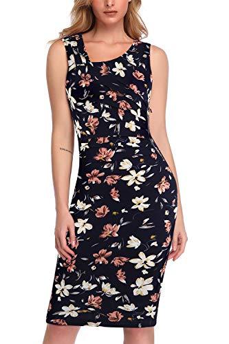 Lamilus Summer Print Dresses, Elegant Flower Flared Sleeveless Pleated Zipper Trim Slim Wear to Work Pencil Dress(Medium, Navy Floral-001)