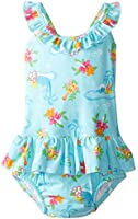 i play. Baby Girls' One Piece Ruffle Swimsuit with Swim Diaper UPF 50+