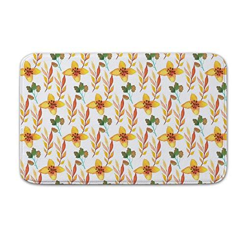 DKISEE Indoor Outdoor Entrance Rug Floor Mat Bathmat Watercolor Floral Doormat