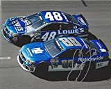 2X AUTOGRAPHED Dale Earnhardt Jr. & Jimmie Johnson 2016 Sprint Cup Series ON-TRACK RACING (Hendrick Team Mates) Signed Collectible Picture NASCAR 8X10 Inch Photo with COA