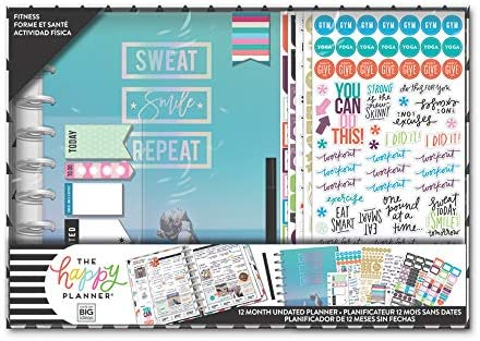 me & my BIG ideas The Happy Planner Box Kit - Sweat Smile Repeat Theme - 12 Month Undated - Vertical Layout - 5 Sheets of Stickers, 1 Pen, 1 Magnetic Bookmark, 4 Sticky Note Pads - Classic Size 1