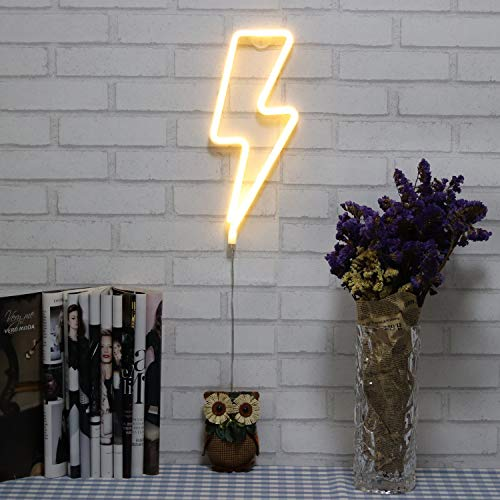 Coscn Neon Signs Lightning Bolt Battery Operated and USB Powered Warm White Art LED Decorative Lights Wall Decor for Living Room Office Christmas Wedding Party Decoration(NELNB)