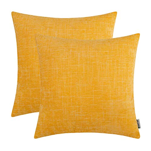 HWY 50 Chenille Soft Soild Decorative Throw Pillows Covers Set Cushion Cases for Couch Sofa Living Room Comfortable 18x18 inch Yellow Decor Pack of 2