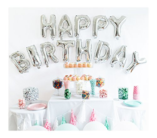 UP Celebrations Birthday Banner, Happy Birthday Banner, Birthday Balloons, Birthday Decorations, Balloon for Birthday, Foil Happy Birthday Balloons, Balloon Decorations (Silver, 16 Inch) (Silver Balloon Birthday)