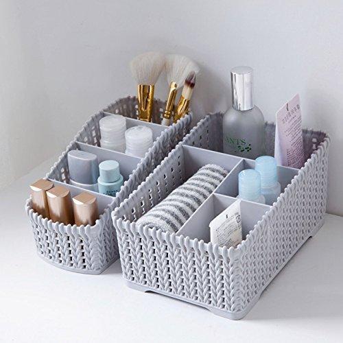 Diswa 2pcs Multi Grids Desktop Sundries Storage Basket Plastic Makeup Organizer Home Office Stationary Storage Container…