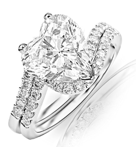 1.59 Carat GIA Certified Heart Cut / Shape 14K White Gold Curving Pave & Prong-set Round Diamond Engagement Ring and Wedding Band Set ( F Color , SI1 Clarity )