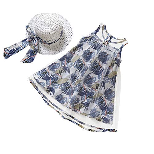 Clearance! Swiusd Toddler Girls Tulle Dresses Bow Straw Hat Sets Summer Infant Baby Floral Print Sleeveless Boho Beach Outfits (Blue, 18-24 Months)
