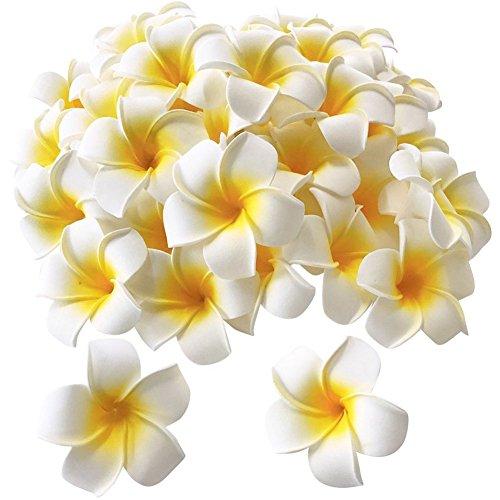 Plumeria Foam - Pursuestar 100Pcs White Foam Hawaiian Frangipani Artificial Plumeria Flower Petals Cap Hair Hat Wreath Floral DIY Home Wedding Decoration 5cm