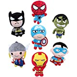 Plush Toys Dolls Marvel's the Avenger Cute Batman Spiderman Captain America Hawkeye Thor Superman Hulk 8pcs Set