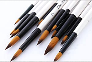 Round Watercolor Detail Paint Brushes Nylon Hair 12pcs for Watercolors,Acrylics,Inks,Gouache,Oil and Tempera(12pcs Pearl White Short Wooden Paint Brush Set)