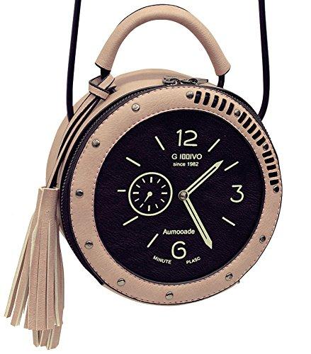 QZUnique Women's PU Tassel Round Clock Shape Zippered Tote Handbag Cute Satchel Cross Body Shoulder Bag - Shipping Time Usps Estimated