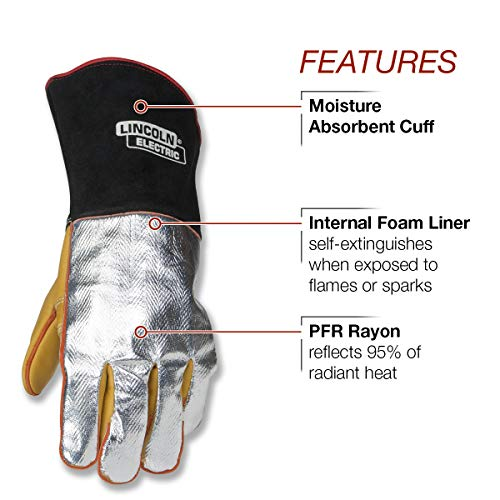 Lincoln Electric Heat Resistant Welding Gloves |Aluminized Reflective Hand | Large | K2982-L by Lincoln Electric (Image #1)