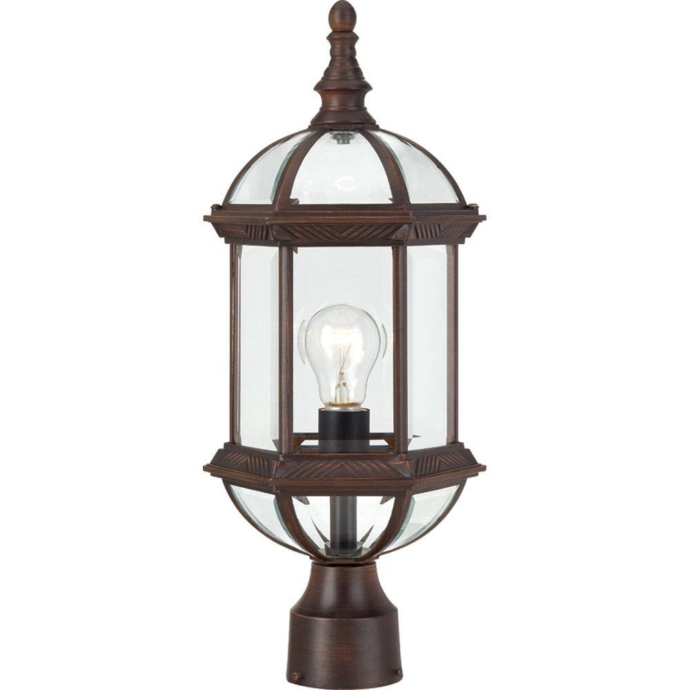 Nuvo Lighting 60/4975 Boxwood One Light Post Lantern 100 Watt A19 Max. Clear Beveled Glass Rustic Bronze Outdoor Fixture