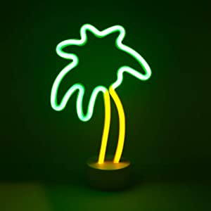 "Isaac Jacobs 11.5"" x 7"" LED Neon Palm Tree Tabletop Lamp, White Base, Night Light, for Nightstand, Bedroom Décor & Party; Battery Powered (Batteries Not Included) (Green & Yellow Palm Tree)"