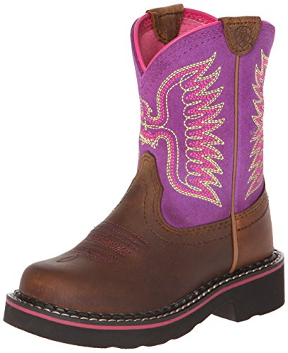 Western Kids Boots Fatbaby - Kids' Fatbaby Thunderbird Western Cowboy Boot, Powder Brown/Amethyst, 5 M US Big Kid