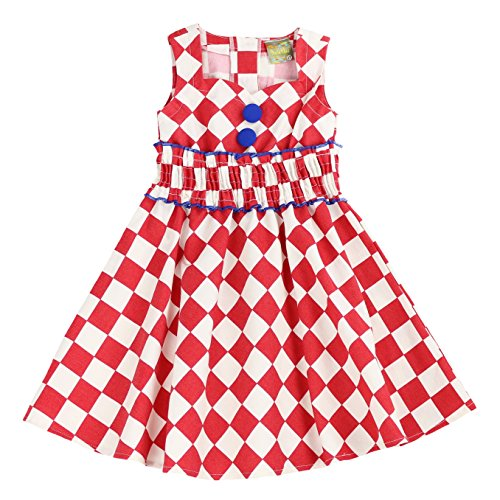 MARIA ELENA - Toddlers and Girls Diamond Classy Audrey Sweetheart Collar Dress in Red 6