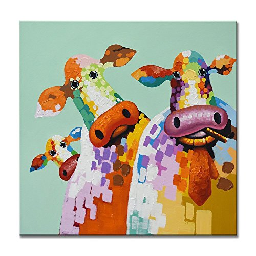 100% Hand Painted Oil Painting Textured Corlorful Cattle Family Modern Decorative Artwork for Home Décor 32x32 Inch