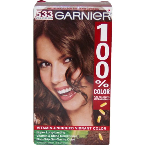 Garnier 100% Color Coloration Permanente, Medium Golden Brown 533