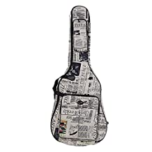 DUOER 600D Water-resistant Oxford Cloth Newspaper Style Double Stitched Padded Straps Gig Bag Guitar Carrying Case for 41 Inch Acoustic Classic Folk Guitar