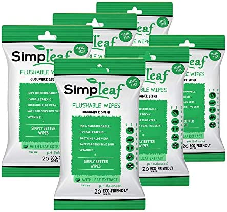 Simpleaf Flushable Wipes Effective Hypoallergenic