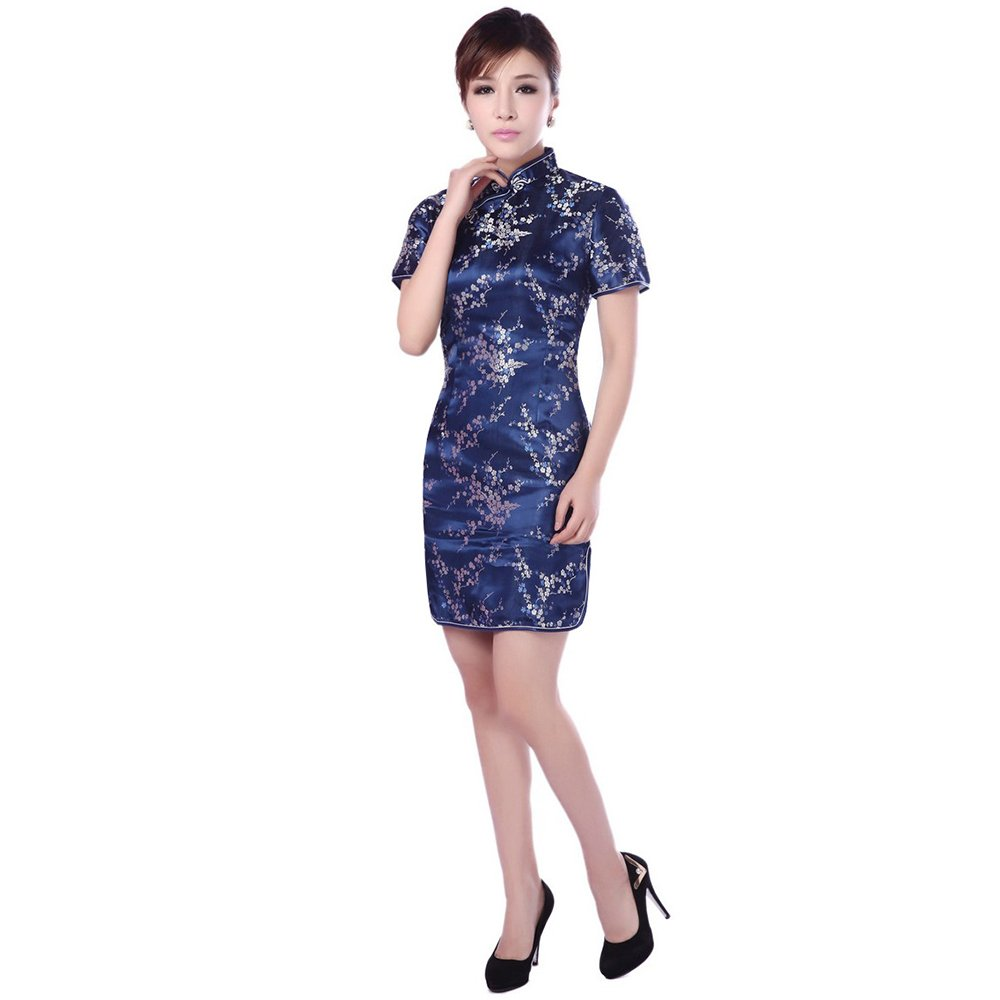 ZooBoo Chinese Cheongsam Qipao Dress - Oriental Traditional Wedding Outfit Clothing Costume for Girls Women (XXL, Navy Blue)