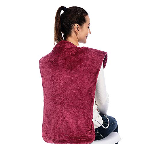 (Tolmnnts Heating Pads for Neck Shoulder and Back Pain Relief Neck Heating Pad Electric with Adjustable Temperature and Massage Modes, Magnetic Clasp, Auto Shut Off Protection,Extra Large Pad for Heat)