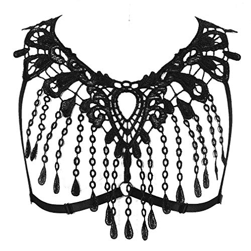 Lace Crop Tops Harness Body Bra Sheer Breast Bralette Tassel See Through Lingerie (Black)