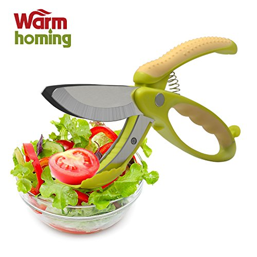 Salad Tongs - Warmhoming Non-slip Grips Toss and Chopped Salad Scissors with Stainless Steel Blades (Woodland Green Acrylic)