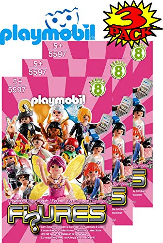 Matty's Toy Stop Playmobil Figures Mystery Blind Bags Series 8 Girls 5597 (Pink) Gift Set Party Bundle - 3 Pack - Favors Playmobil