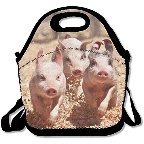 Reusable Lunch Bag Three Running Pigs Food Handbag Custom Lunch Holder Printed Lunch Tote Bag Multi-function Lunch Box Organizer For Adults And Kids