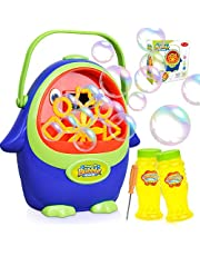 Bubble Machine - Automatic Penguin Kids Bubbles Blower Make Over 1000 Giant Bubbles per Minute for Boy Girl Birthday Party Indoor and Outdoor Games, Bubble Solution & Screwdriver Included