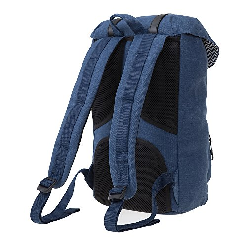 HOOPOE Urban-Ido, Navy Blue 16oz Waxed Canvas Outdoor Backpack with Padded Laptop Compartment & Earbud Hole, External Zip Pocket Water-Resistant, Lightweight, Men's Women's with Padding & Pockets by Hoopoe (Image #4)