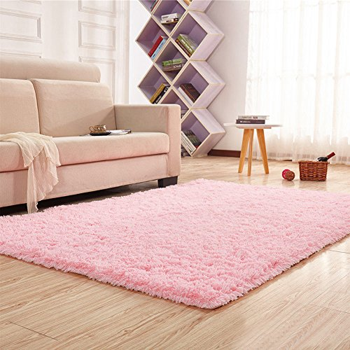 Noahas Super Soft 4.5cm Thick Modern Shag Area Rugs Fluffy Living Room Carpet Comfy Bedroom Home Decorate Floor Kids Playing Mat 4 Feet by 5.3 Feet - Pink Carpet