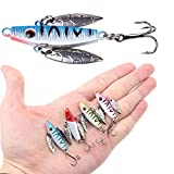 A-SZCXTOP Lot 4pcs 5cm 7g Ice Fishing Lures Simulation Fish Metal Spinnerbaits Sequins Lures Fishing Baits Tackle Hooks