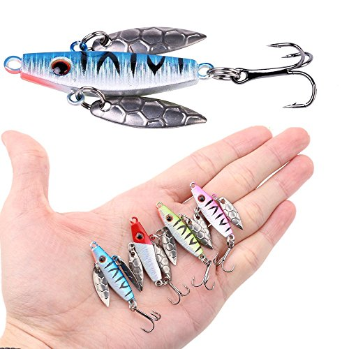 A-SZCXTOP Fishing Spinnerbait Lures Spoon 4pcs Baits Glow in Dark Ice Fishing Kit Jig Tackle for Bass Pike Trout Walleye