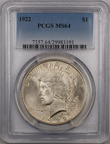 1922 Peace Silver Dollar Coin $1 PCGS MS-64 (2B)