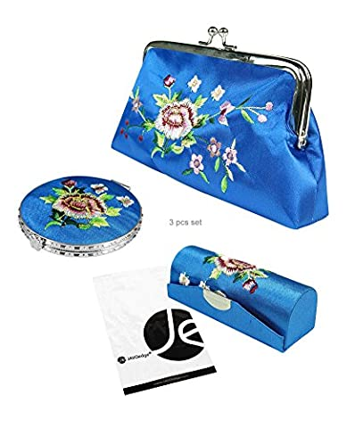 JAVOedge (3 PCS SET) Rose Embroidery Cosmetic (Lip Stick Case, Cosmetic Bag, and Mirror) Gift Box Set (Dark - Embroidery Box Set