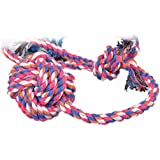 Rope Tug Toy,5ivepets 17'' Cotton Rope Dog Chew Toys with Ball for Puppies Small to Large Dogs (Pack of 1 & Random color)