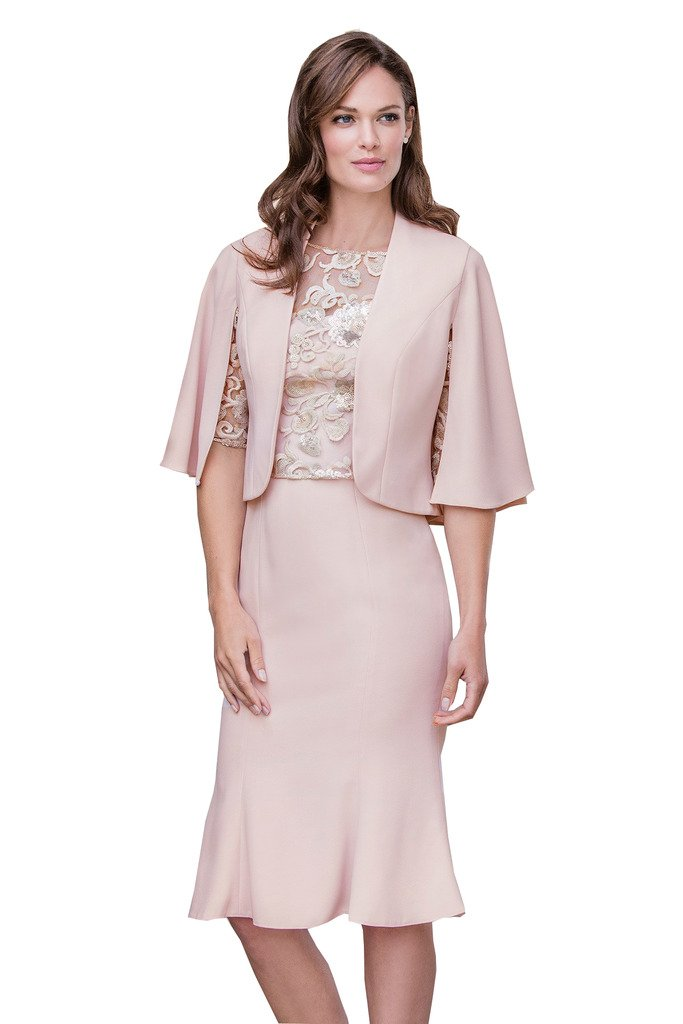 Fenghuavip 2 pcs Light Pink Mother of the Bridal Dress Lace Top by Fenghuavip (Image #1)